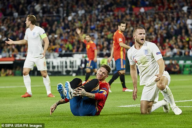 England midfielder Eric Dier (right) went in hard on Sergio Ramos (centre) in Sevilla this week