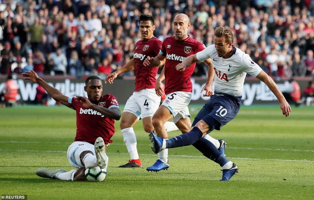 Harry Kane had a brilliant chance to put Spurs one up before Lamela's opener but Issa Diop makes a fantastic block