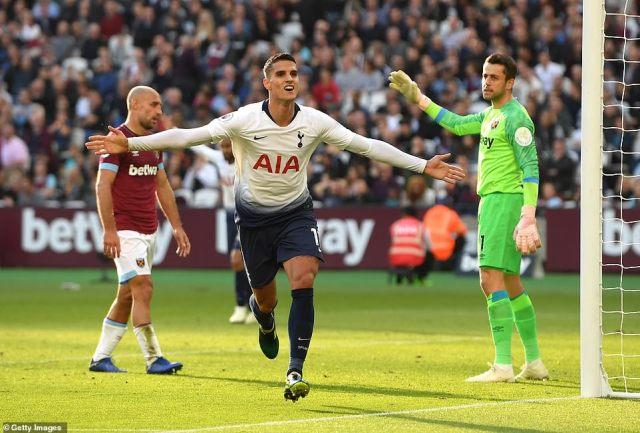 Erik Lamela celebrates breaking the deadlock for Tottenham just 90 seconds before the break at the London Stadium
