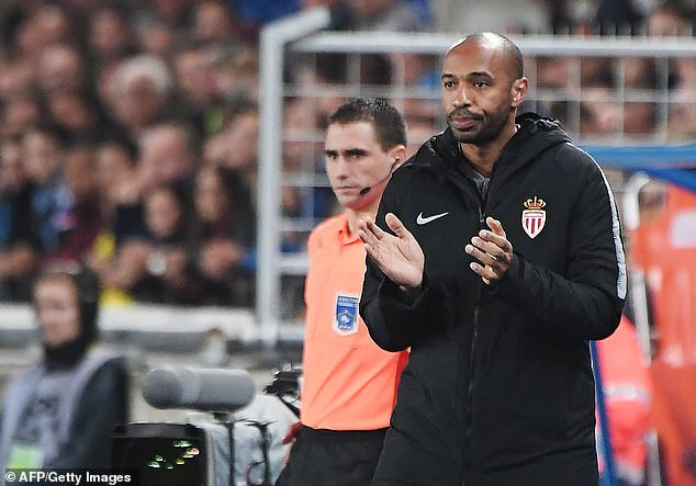 Henry applauds on the sidelines as his Monaco side looked to get points on the board