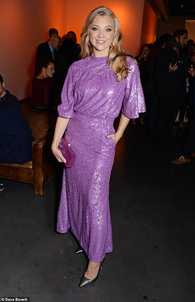 Fun times: Adding some glitz to all the glamour, Natalie donned a sparkling lilac gown that accentuated her lean figure