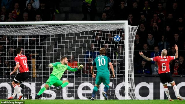 Tottenham went ahead 10 minutes into the second half when Kane's header bounced up off the pitch and into the top corner