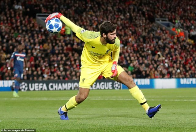Liverpool goalkeeper Alisson Becker had a quiet night at Anfield as Klopp's side secured a comfortable victory at home