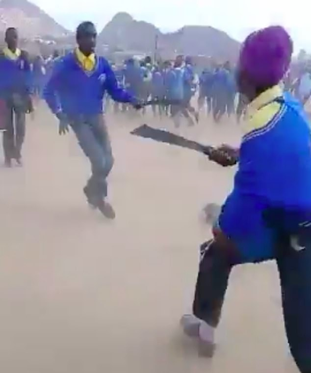 Video footage shows dozens of students from a school in Limpopo Province, South Africa, chasing after each other while armed with machetes