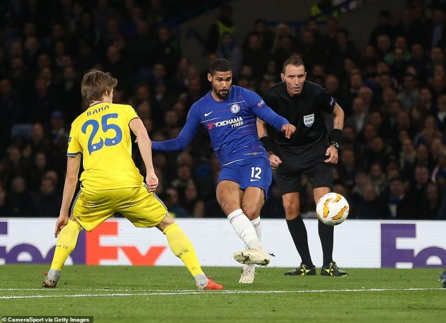 Loftus-Cheek curls in his third goal of the evening to complete his hat-trick and put Chelsea three goals in front of their rivals