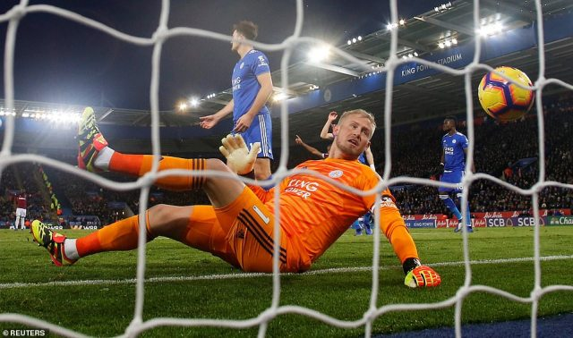 Leicester goalkeeper Kasper Schmeichel could only fall back into his net to catch sight of the ball as it was fired beyond him