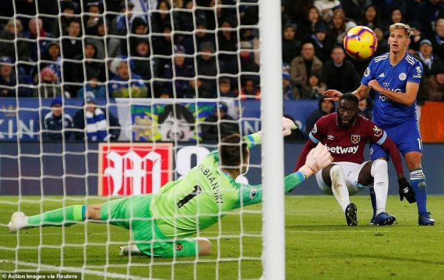 It proved quite the race down Leicester's right as Marc Albrighton gained ground on Arthur Masuaku to fizz a strike at goal