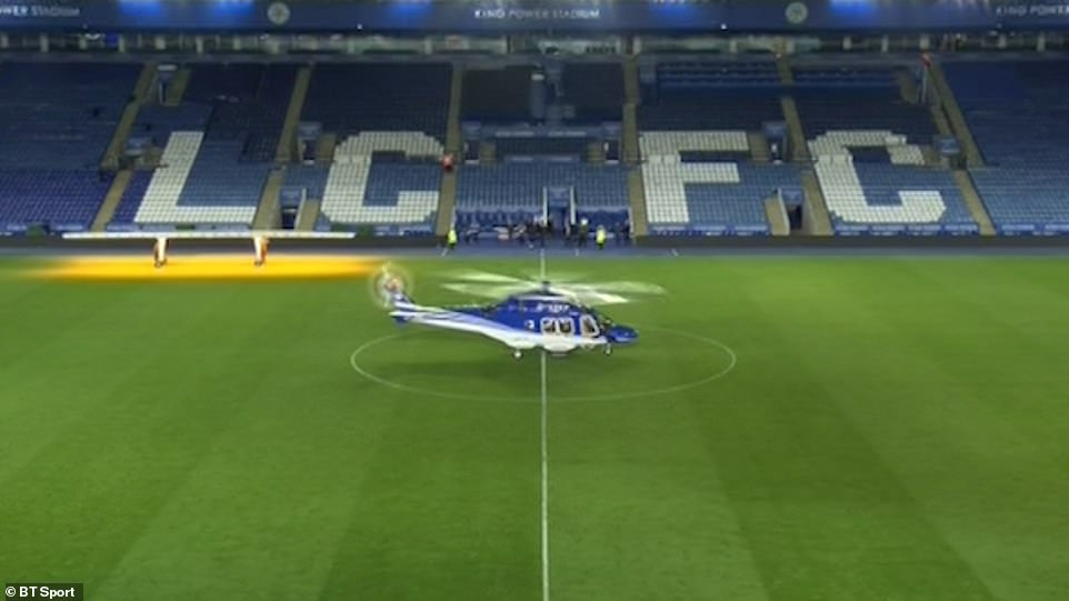 Following the Leicester City 1-1 draw with West Ham, the helicopter was seen landing on the centre circle of the pitch