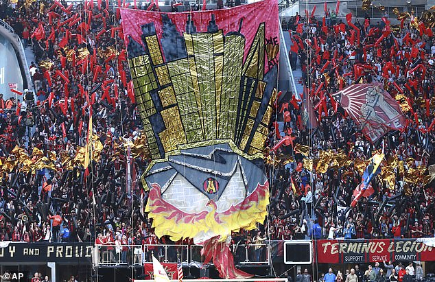 Their passionate fans show a cheer with the Phoenix of Atlanta, a symbol of pride for the city