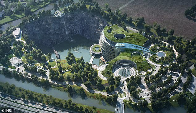 A picture published in August shows that the hotel is almost complete in a quarry in Shanghai