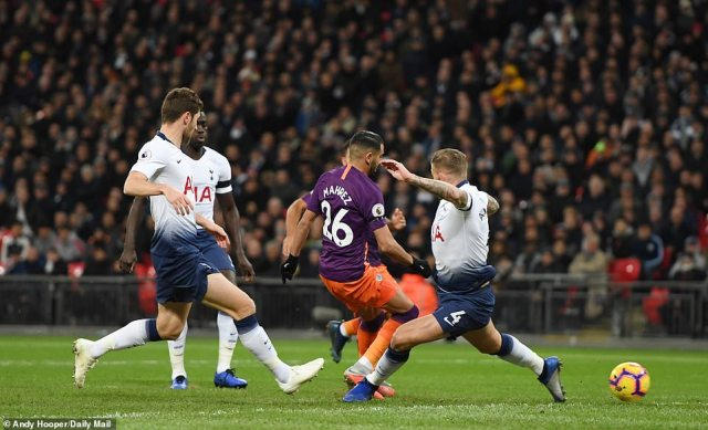 Riyad Mahrez taps in a close-range effort after Raheem Sterling pounced on a Kieran Tripper mistake early on