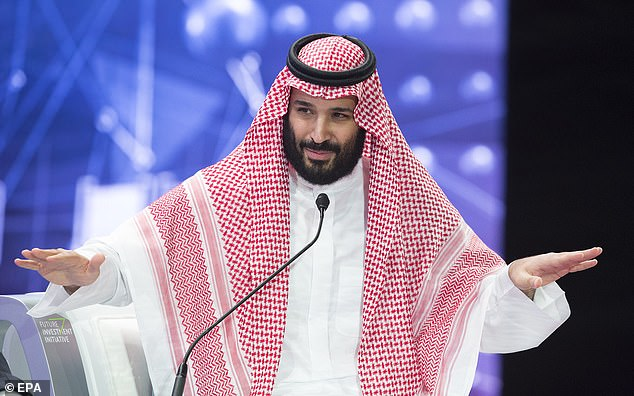 Blamed: Khashoggi's death hasbrought near unprecedented international scrutiny on Saudi Arabia and Crown PrinceMohammad Bin Salman, pictured speaking at the Future Investment Initiative Conference, in Riyadh, last week which was boycotted by high profile CEOs