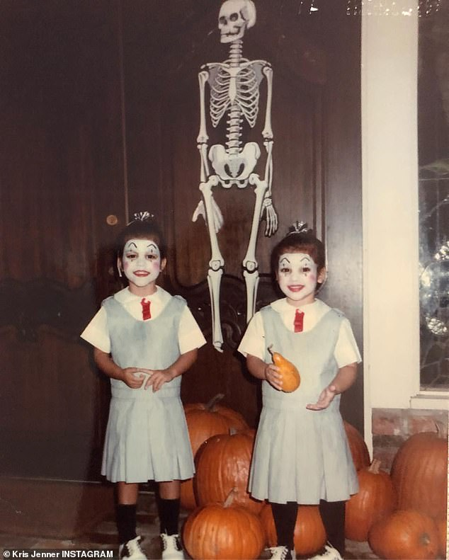 Mommy's post: Kris Jenner, 62, shared an image of Kim and Kourtney on Halloween when they were children