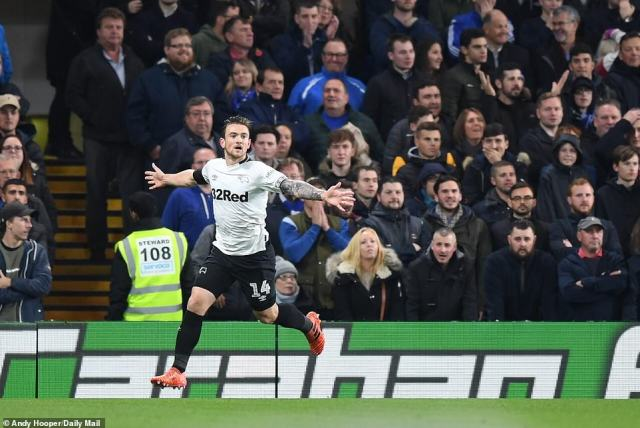 Jack Marriott equalised for Derby in the ninth minute of Carabao Cup fourth-round clash at Stamford Bridge on Wednesday