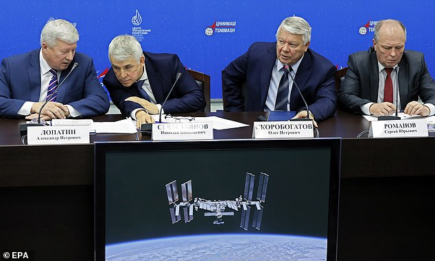 (LR) Roscosmos Deputy Director-General for Missile Production, Operation of Land-Based Infrastructure and Quality Control, Alexander Lopatin, Deputy TSNIIMASH Chief Nikolai Sevastyanov, Head of the Roscosmos Commission for Investigation of the Soyuz Rocket Accident on October 11, 2018, Oleg Skorobogatov and RSC (Rocket and Space Corporation) Energia boss Sergei Romanov will attend a press conference on the causes of the Soyuz rocket crash on 11 October