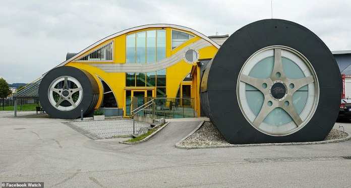 Most Incredible Homes - which premieres on November 3 via the TV platform Facebook Watch - showcases the most extraordinary properties from all around the world. Above, at exterior view of the car-shaped house parked in Salzburg, Austria