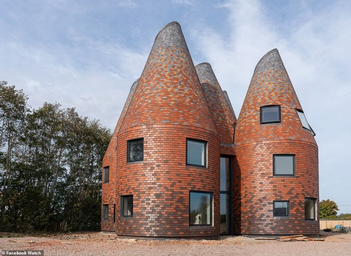 This modern twist on the traditional oast house in the UK (the structures were originally designed for kilning hops as part of the brewing process)