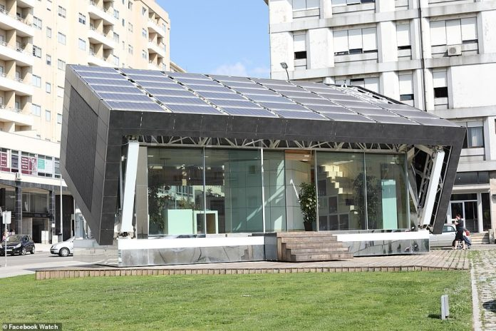 This futuristic home in Portugal is decked out with solar panels and rotates, following the sun throughout the day