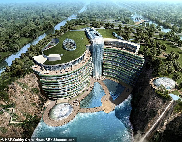 """The idea of the hotel was suggested by Xu Rongmao, chairman of the Shanghai Shimao Group, who had been to many """"crazy"""" hotels and wanted to build an even crazier hotel in Shanghai"""
