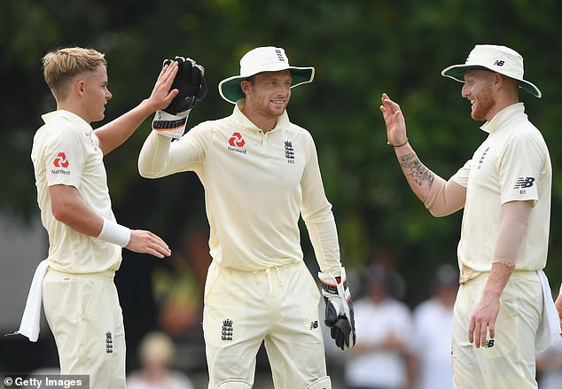 Sam Curran, Jos Buttler and Ben Stokes (from left to right) celebrate a wicket on Friday