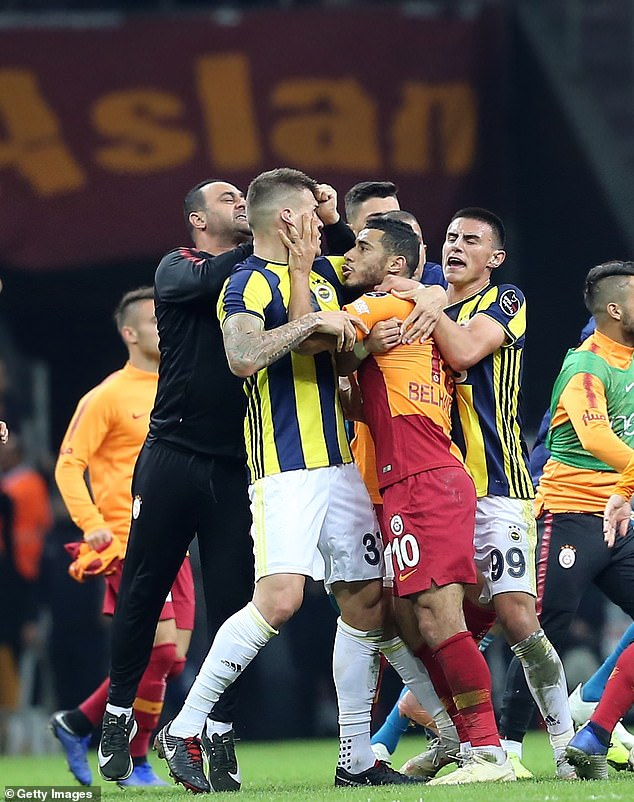Former Liverpool defender Martin Skrtel was heavily involved in the skirmish after the game