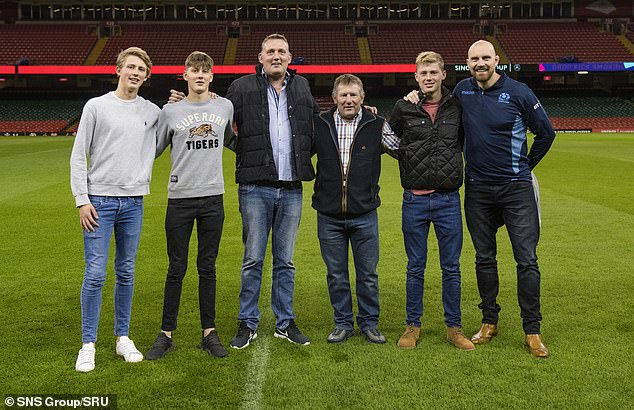 Doddie Weir (third left) with his sons and former Scottish stars Gary Armstrong and Al Kellock