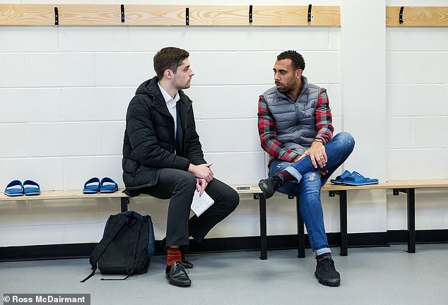 The defender talks to George Bond of Sportsmail in the locker room at St. Mirren Park