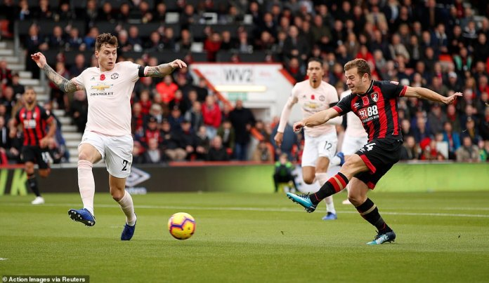 Ryan Fraser of Bournemouth shoots the ball in the first big chance of the match, but fails to find the Manchester United net
