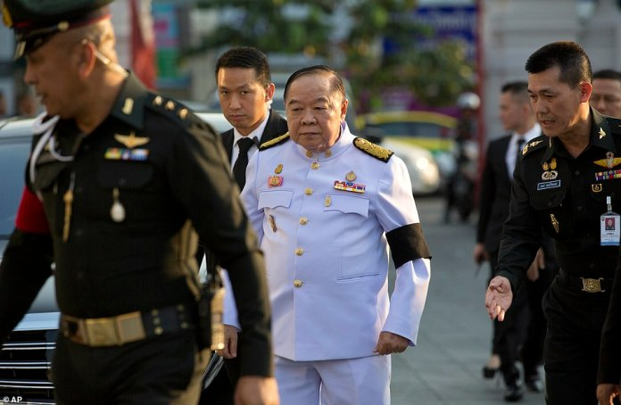 Deputy Prime Minister of Thailand, Gen. Prawit Wongsuwan, arrives for the funeral of Srivaddhanaprabha