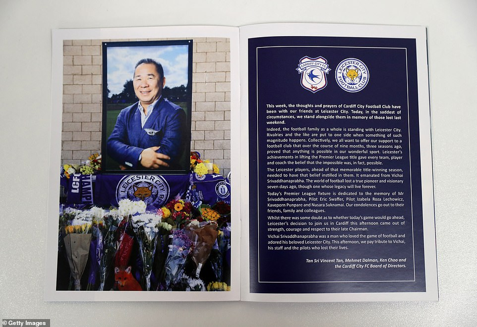 The members of the Cardiff Board of Directors commemorate Srivaddhanaprabha's life with a special tribute to the game day