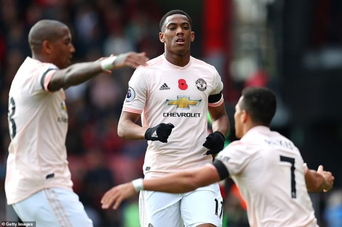 Anthony Martial is congratulated by his team-mates from Manchester United after his former goal equalized South-South equality