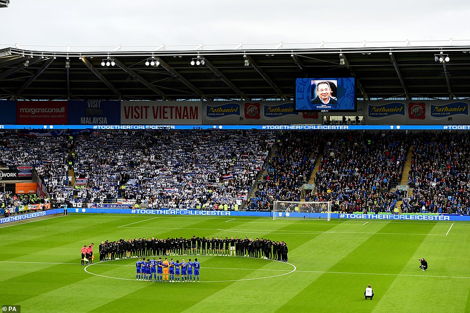 Leicester's players and co-workers are with the players of Cardiff and the game partners for a minute's silence before the game on Saturday