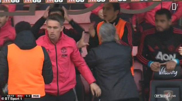 United boss Mourinho had his head in his hand as Rashford's shot was blocked by Ake