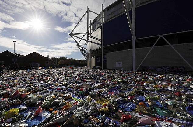 A general overview of the floral tributes Leicester's late owner had set up outside the King Power