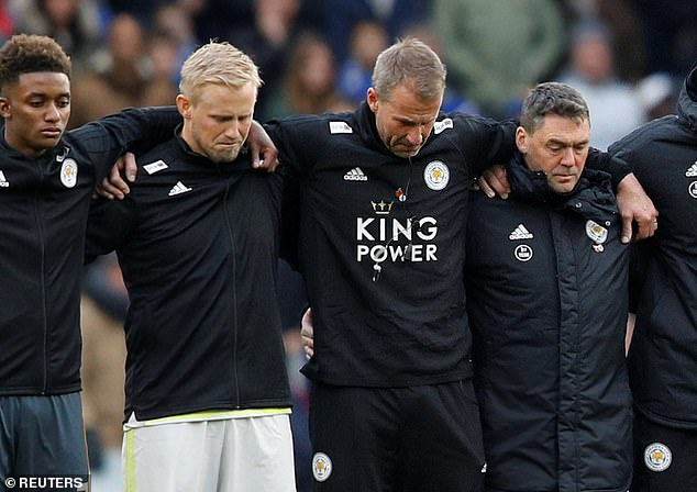 Kasper Schmeichel (second from left) tried to hold back tears during the silence minute