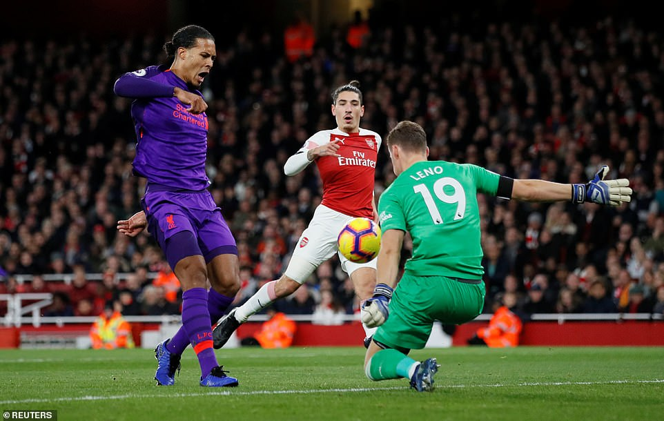 Virgil Van Dijk thought he had scored a goal but was stopped by Leno at the Arsenal goal as Liverpool continued to search for an opening game