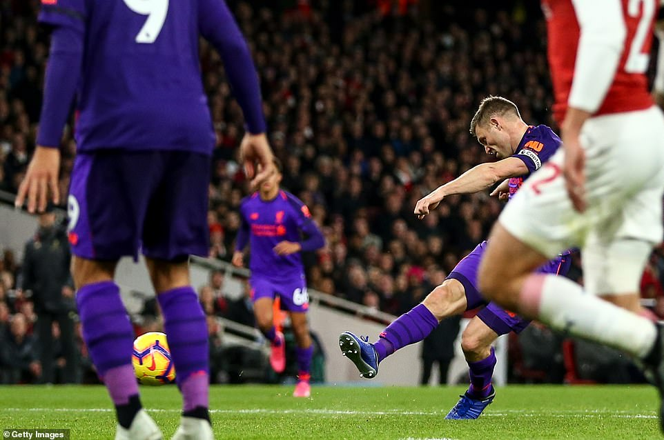 The Liverpool captain managed to steer his shot past some bodies into the arsenal