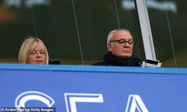 Former Chelsea boss Claudio Ranieri stood on Stamford Bridge in the stands to support him