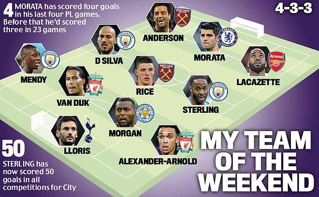 Jamie Redknapp's team of the weekend consists of Rice, Raheem Sterling and Alvaro Morata