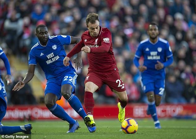 Xherdan Shaqiri was left on Merseyside as Liverpool prepared for Red Star Belgrade