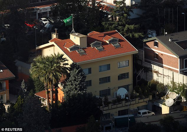 Turkey believes that two members of the team came to the country 'for the sole purpose of covering up evidence' before Turkish police were allowed to search the Saudi Consulate (pictured), where Khashoggi was killed on October 2 after he entered to collect a document he needed to marry his Turkish fiancee