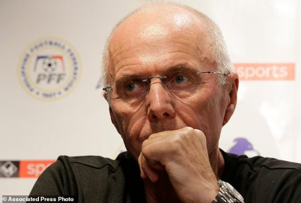 Sven-Goran Eriksson, the new coach of the Philippines national football team, attended a press conference on Monday, November 5, 2015 in Manila, the capital of the Philippines. Erikkson, a former UK team manager, will be the head coach of the Philippine team at the 2018 AFF in the Suzuki Cup this month and the Asian Cup next year. (AP Photo / Aaron Favila)
