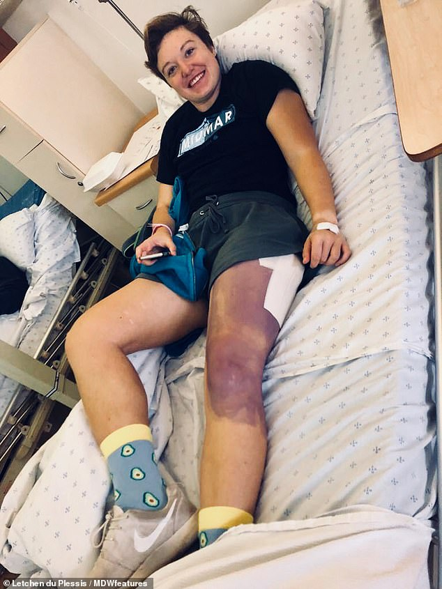 "After her hip was ""popped"" on the court last May, Miss du Plessis's leg began to turn violet when her hip's blood supply was cut, causing the bone to die. On the third day of the operation, she had to have a bone drilled to increase blood flow"