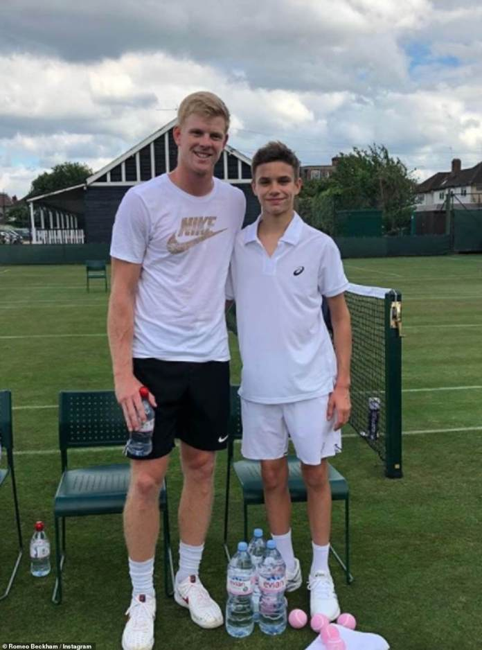 Tennis ace: Romeo was enrolled as a child along with his two brothers at the Arsenal football academy, but broke out at age 13. Soon after, he told his father that he wanted to end football forever. pictured with Kyle Edmund