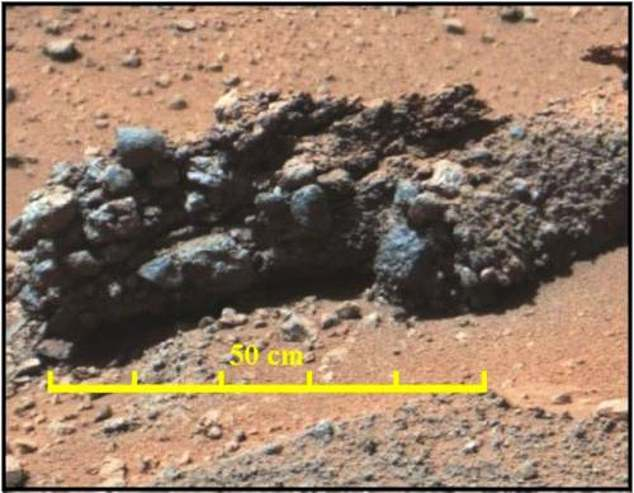 The Mastcam image above shows a conglomerate with grains up to 10 centimeters in diameter, some of which are well rounded