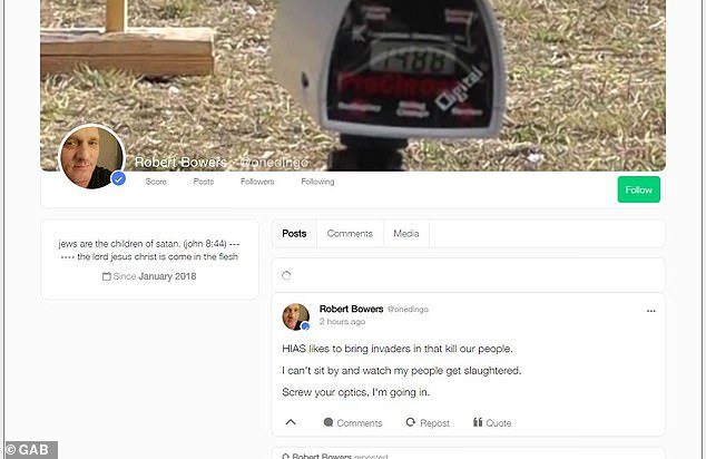 Gab.com, which was supported by the alleged mass murderer of the Pittsburgh synagogue Robert Bowers' favored social network, was online again on Sunday after a weeklong break