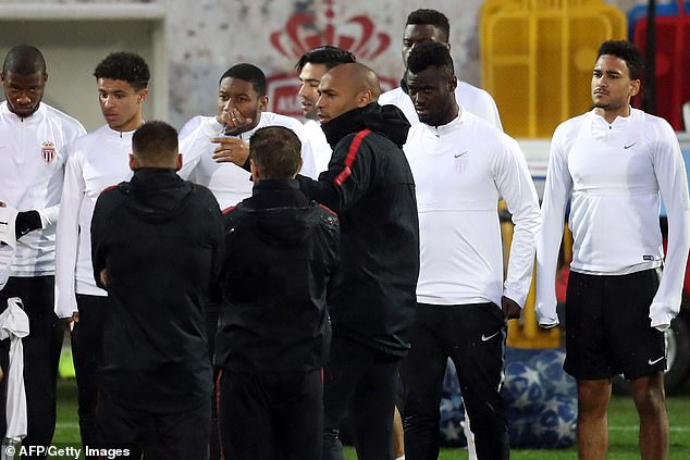 Thierry Henry gives instructions to his team in Monaco before playing Club Brugge