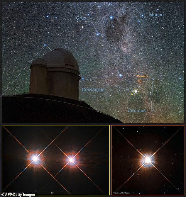 Two MIT researchers have proposed a radical method to publicize our presence in the universe. Shown is the 3.6 meter long ESO telescope at the La Silla observatory in Chile with images of the stars Proxima Centauri