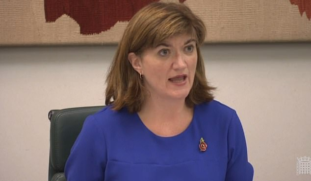 Tory MP Nicky Morgan (pictured at today's Treasury select committee) lashed Mr. Hammond for his decision to delay the curb