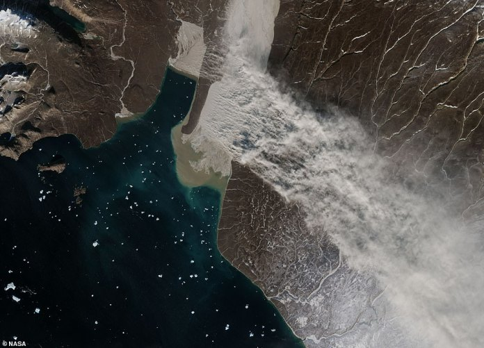 On September 29, 2018, the Moderate Resolution Imaging Spectroradiometer (MODIS) of NASA's Terra satellite and a European Space Agency (ESA) Sentinel-2 sensor collected images of a sizable cloud of cum pouring from the east coast of Greenland